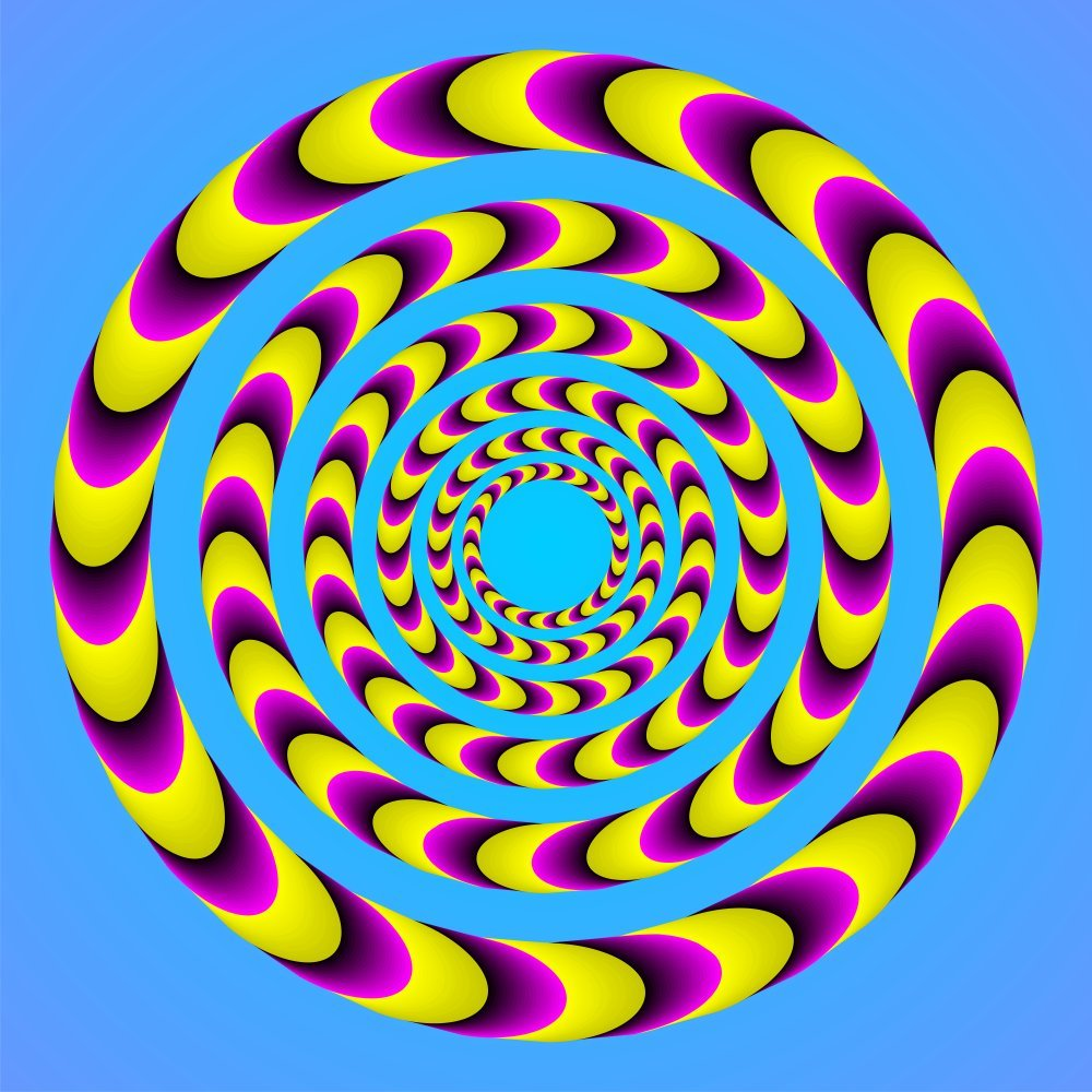 optical illusions dizzy feel spiral spin illusion moving cool mind why move eye circle eyes motion visual colors circles vision