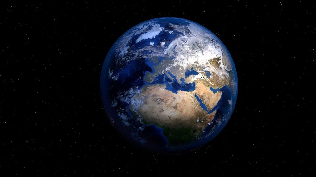 Mass of earth Earth and galaxy. Elements of this image furnished by NASA.P