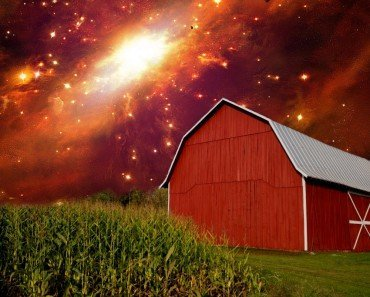 Red colored house & dying star