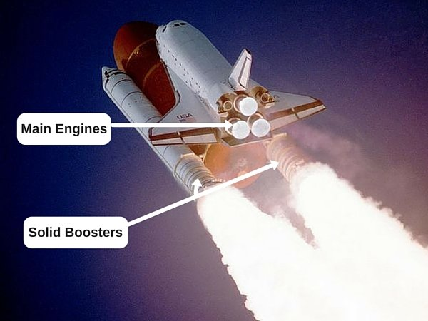 main engines and solid boosters