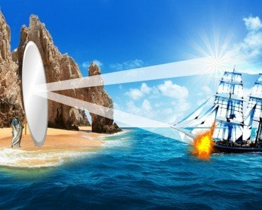 Archimedes Mirror solar burnning ship