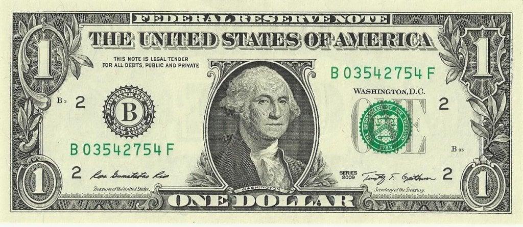 1 dollar note bill