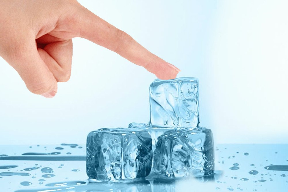 Finger sticking to ice