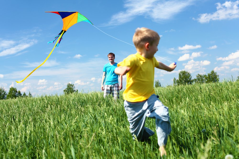 Boy playing with flying kite game