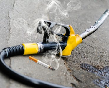 Cigarette near gasoline
