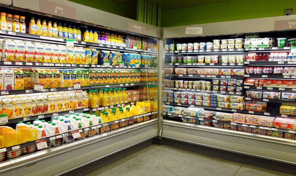 Supermarket US 100% fruit juice.