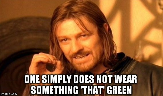 one simply does not wear something 'that' green meme