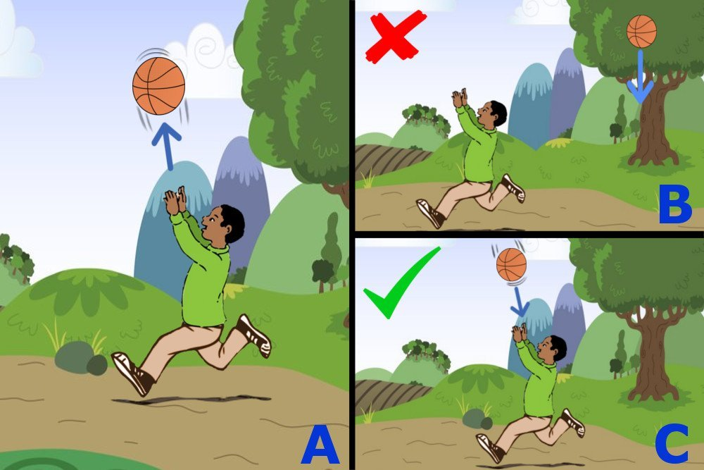 A boy catching a ball