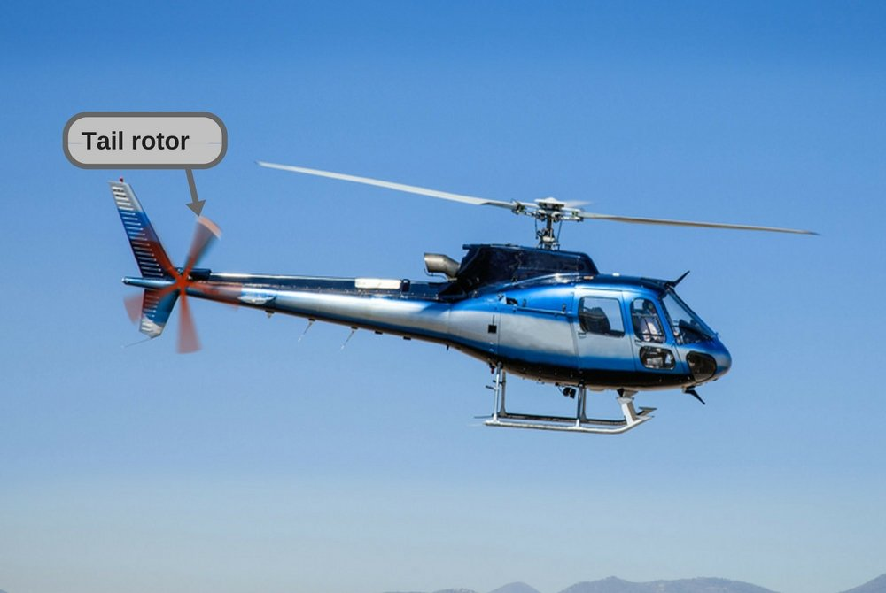Helicopter in flight. Fly over the mountain and blue sky.