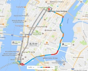 Google Traffic map Boston to Manhattan1