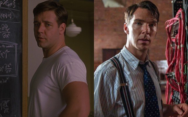 Russel Crowe as John Nash(left), Benedict Cumberbatch as Alan Turing(right)