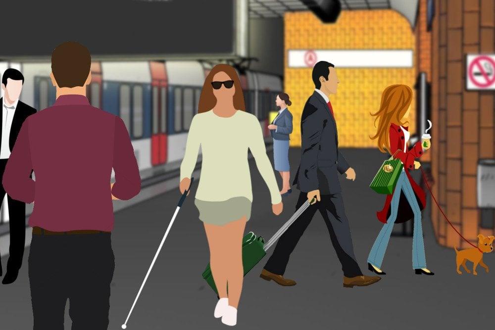 Blind Woman walking