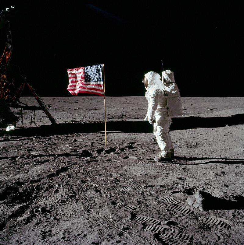 aldrin salutes the US flag