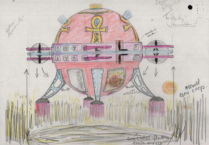 Sketch of a UFO creating Circles sent to the British PM in 1999