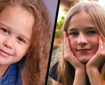 Curly little blond girl portrait smiling cute kid & straight hair girl