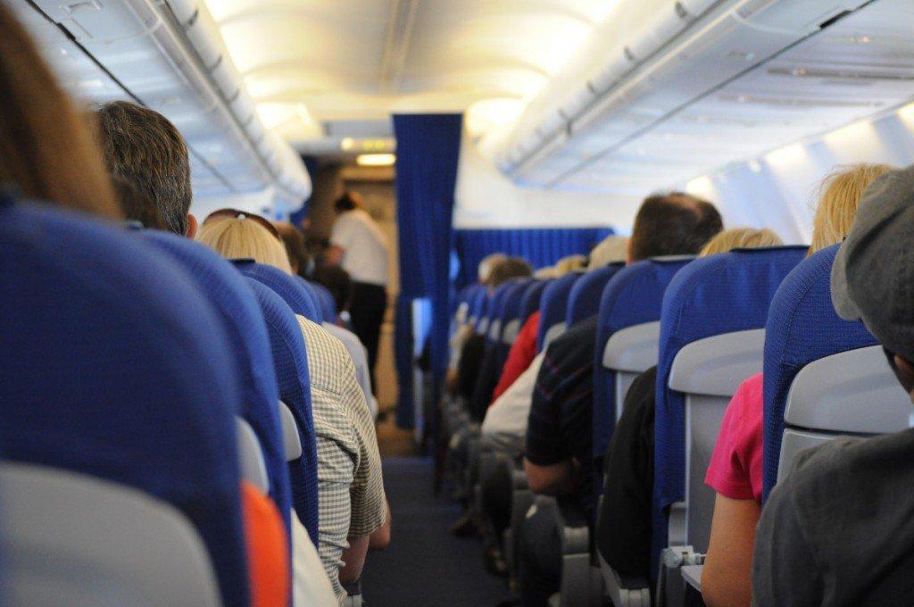 Dim light in airplane cabin