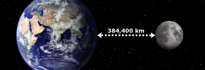 Earth & moon distance 384400km