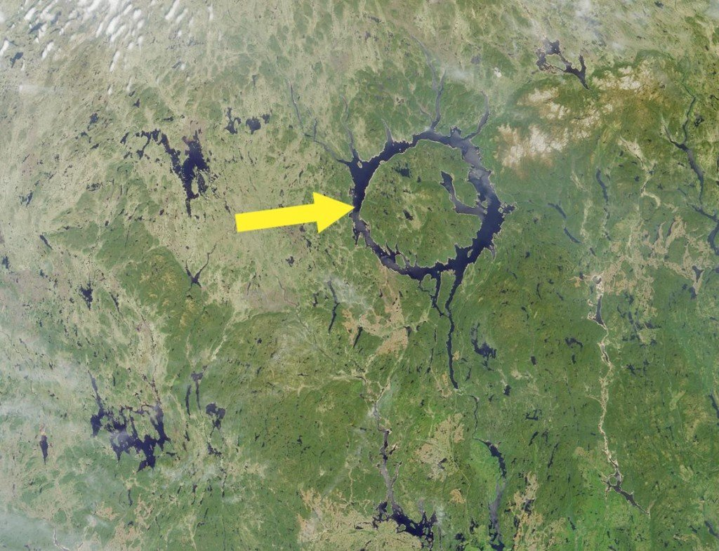 Lake Manicouagan, a ring-shaped lake in Quebec, Canada, is all that remains of a crater from a massive impact over 200 million ears ago. Photo Credit NASA.GSFC.LaRC.JPL.MISR Team