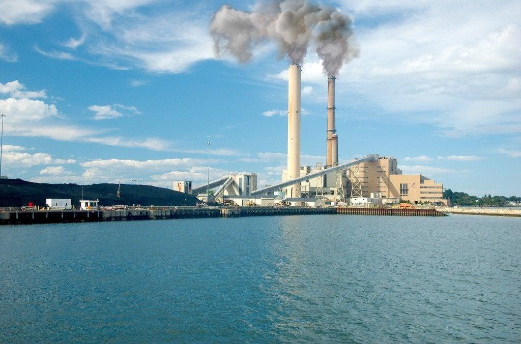 Power plant near lake