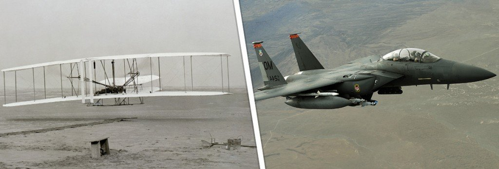 Avião antigo e jato de combate