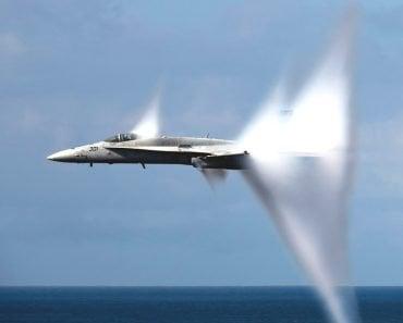 Military jet plane sonic boom