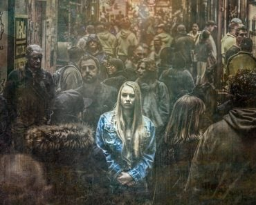 Depress girl in crowd painting