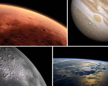 Space mars jupiter moon earth dark collage