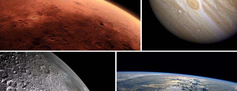 Space mars jupiter moon earth dark collage