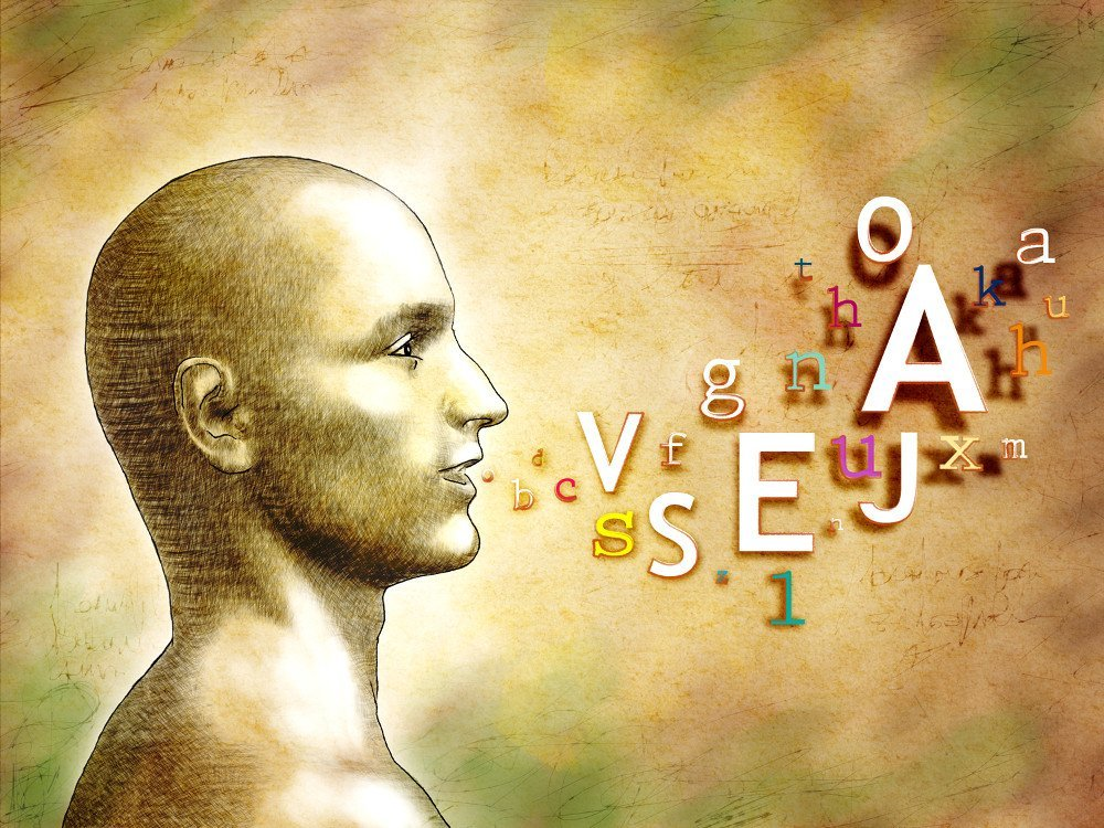 Male head with alphabet letters coming out from his mouth. Digital illustration human speech