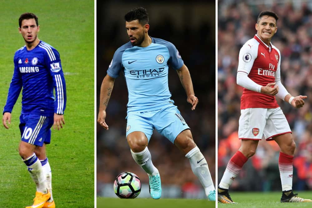 Eden Hazard, Sergio Aguero and Alexis Sanchez
