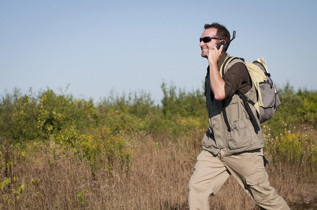 Traveller Using Satellite phone