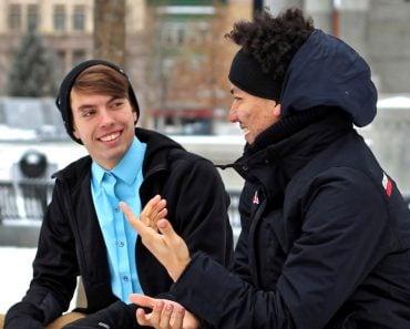 Two men people talking stranger