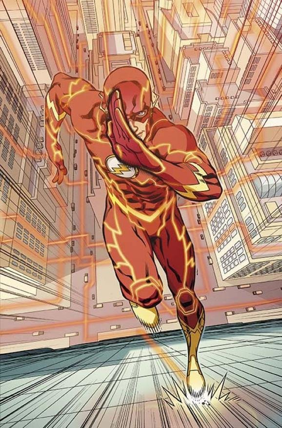 The flash running on side of the building