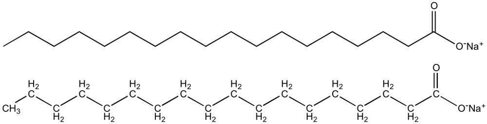Two equivalent images of the chemical structure of sodium stearate, a typical soap for domestic handwashing