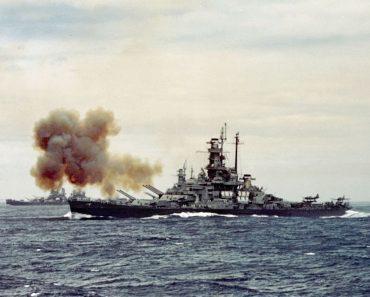 USS Indiana bombarding Kamaishi 14 July 1945