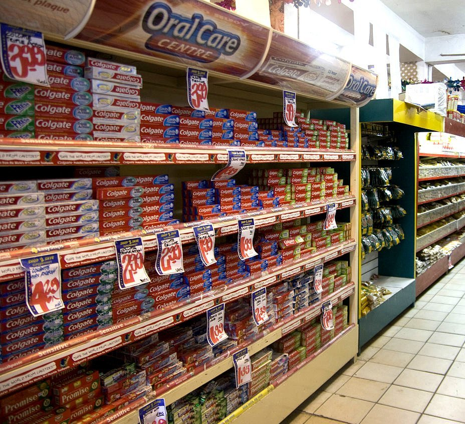 Toothpaste aisle in supermarket