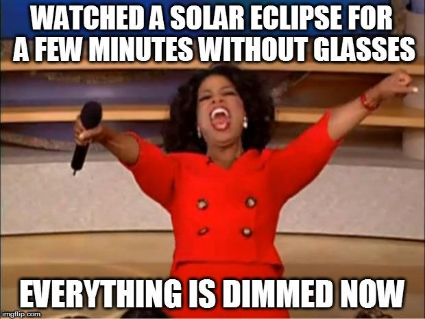 Watched a solar eclipse for a few minutes without glasses everything is dimmed now meme