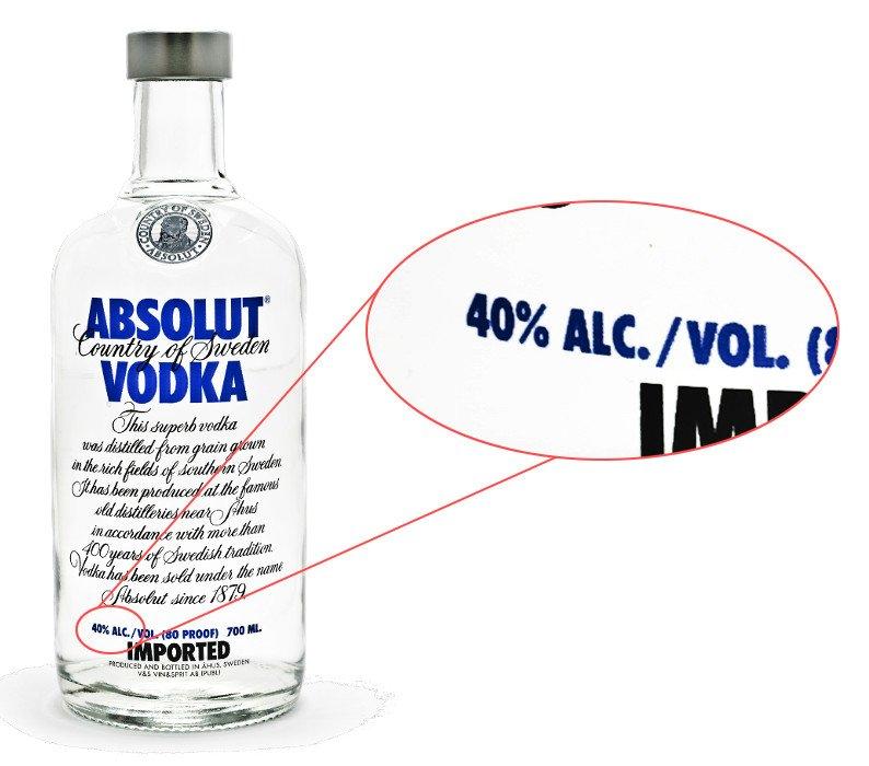 vodka ethanol content label