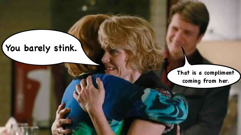 Castle joke you barely stink that is a compliment coming from her meme