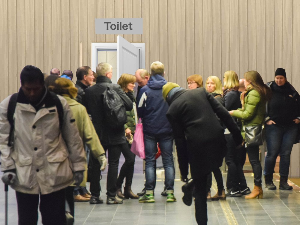 People crowding up on a single door toilet