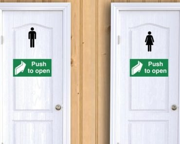 Toilet door men & woman push to open