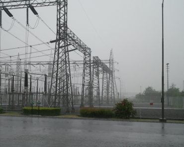 Power lines in rain