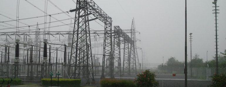 Power lines in rain
