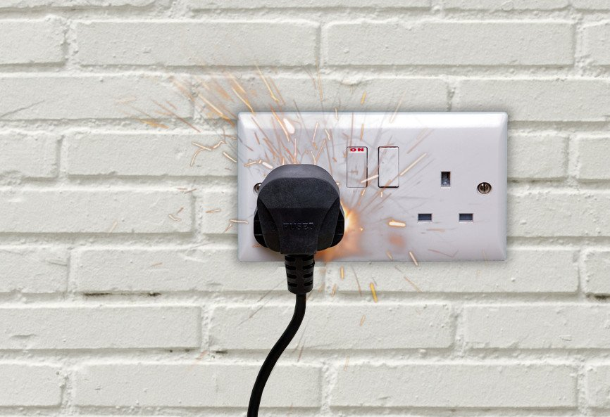 Spark Double electrical power socket and plug switched on