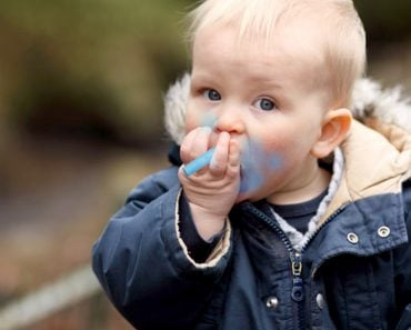 baby eating chalk