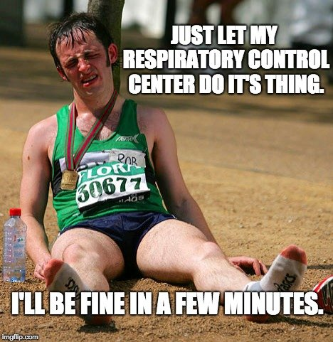 JUST LET MY RESPIRATORY CONTROL CENTER DO IT'S THING. I'LL BE FINE IN A FEW MINUTES. meme