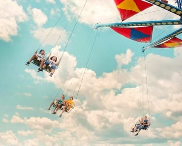 swing ride, amusement park, funfair, happy
