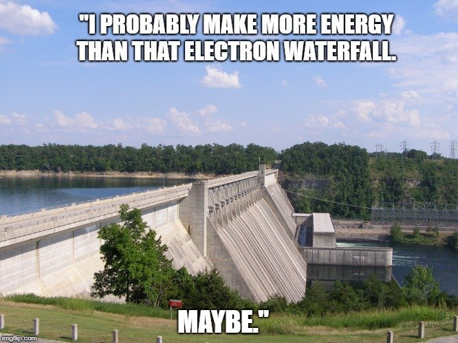 I probably make more energy than that electron waterfall meme