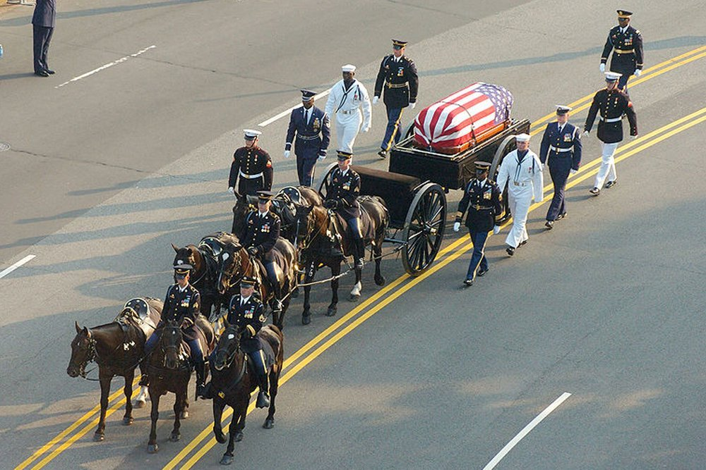 Ronald Reagan casket on caisson during funeral procession