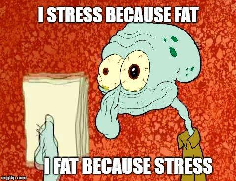 I FAT BECAUSE STRESS meme